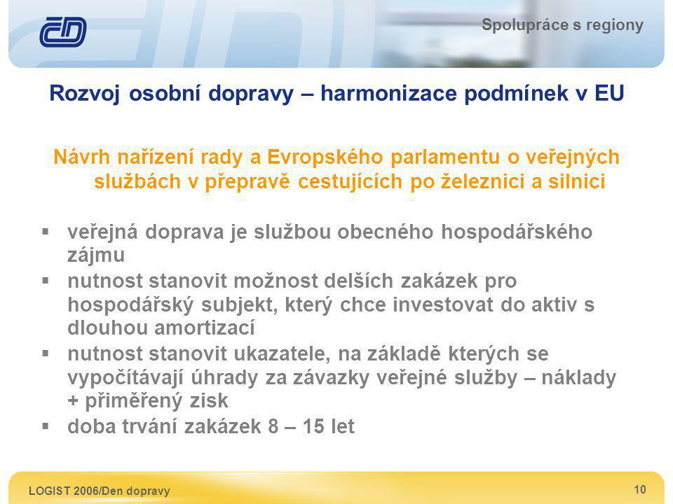 LOGIST 2006/Den dopravy 10 Spolupráce s regiony Rozvoj osobní dopravy – harmonizace podmínek v EU Návrh nařízení rady a Evropského parlamentu o veřejn