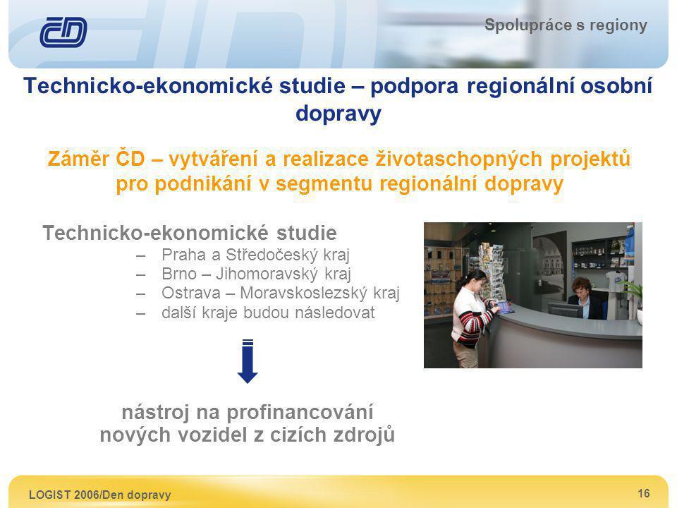 LOGIST 2006/Den dopravy 16 Spolupráce s regiony Technicko-ekonomické studie – podpora regionální osobní dopravy Záměr ČD – vytváření a realizace život