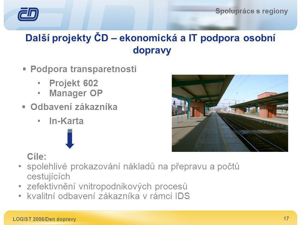 LOGIST 2006/Den dopravy 17 Spolupráce s regiony Cíle: spolehlivé prokazování nákladů na přepravu a počtů cestujících zefektivnění vnitropodnikových pr
