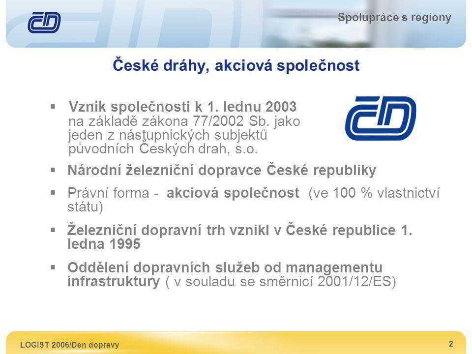 LOGIST 2006/Den dopravy 3 Spolupráce s regiony Obchodní činnosti Českých drah, a.s.