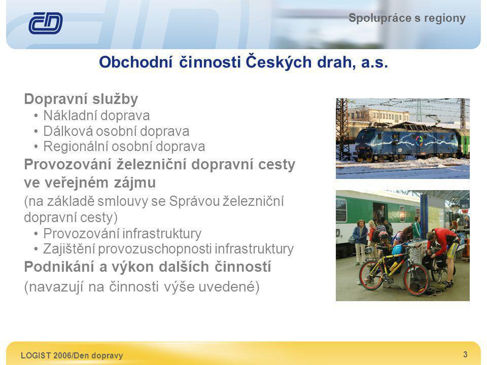 LOGIST 2006/Den dopravy 3 Spolupráce s regiony Obchodní činnosti Českých drah, a.s. Dopravní služby Nákladní doprava Dálková osobní doprava Regionální