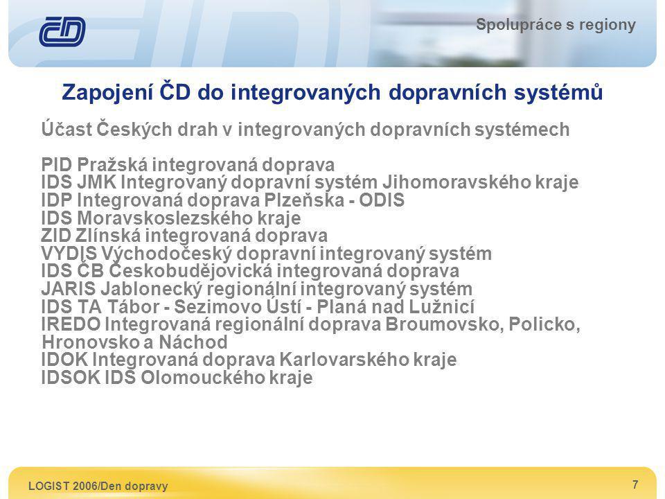 LOGIST 2006/Den dopravy 7 Spolupráce s regiony Zapojení ČD do integrovaných dopravních systémů Účast Českých drah v integrovaných dopravních systémech
