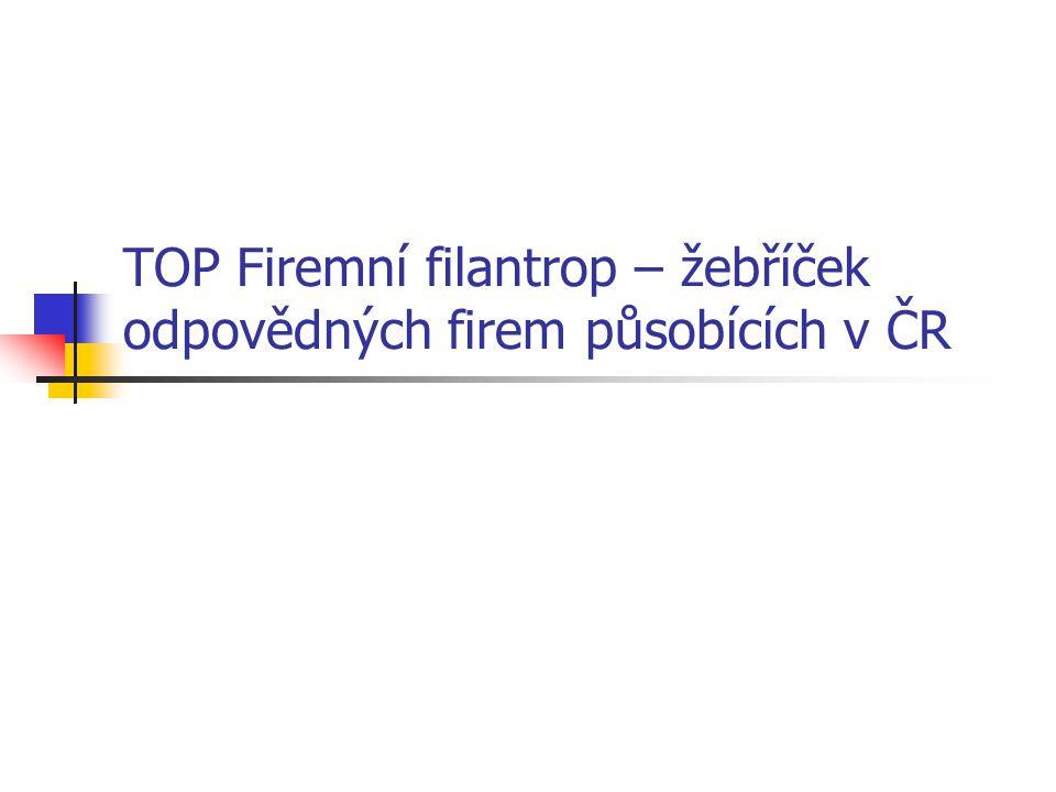 TOP Firemní filantrop – žebříček odpovědných firem působících v ČR