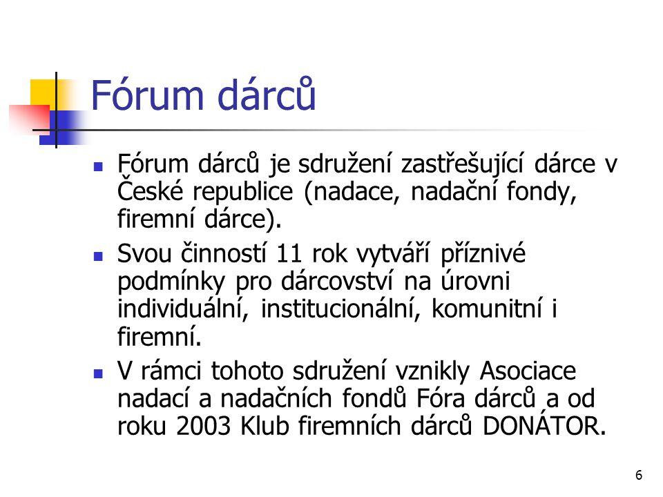 6 Fórum dárců Fórum dárců je sdružení zastřešující dárce v České republice (nadace, nadační fondy, firemní dárce). Svou činností 11 rok vytváří přízni