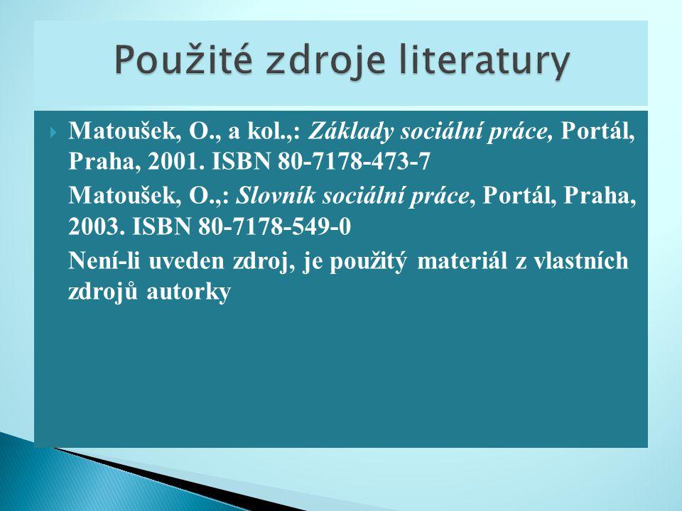 Matoušek, O., a kol.,: Základy sociální práce, Portál, Praha, 2001. ISBN 80-7178-473-7 Matoušek, O.,: Slovník sociální práce, Portál, Praha, 2003. I