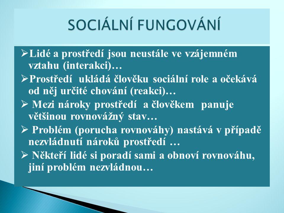  Lidé a prostředí jsou neustále ve vzájemném vztahu (interakci)…  Prostředí ukládá člověku sociální role a očekává od něj určité chování (reakci)… 