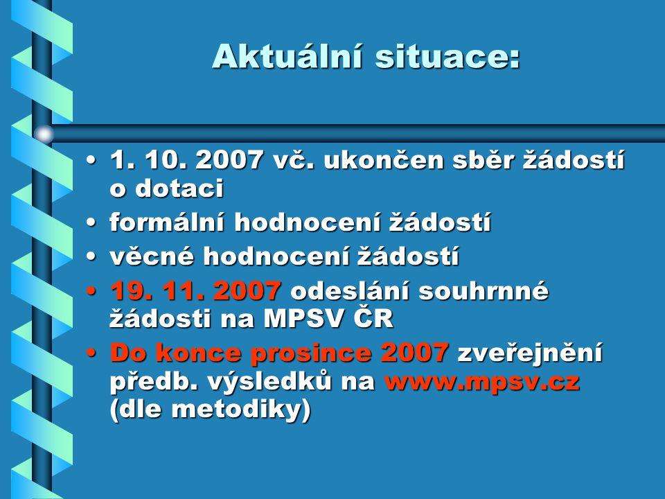Aktuální situace: 1. 10. 2007 vč. ukončen sběr žádostí o dotaci1.