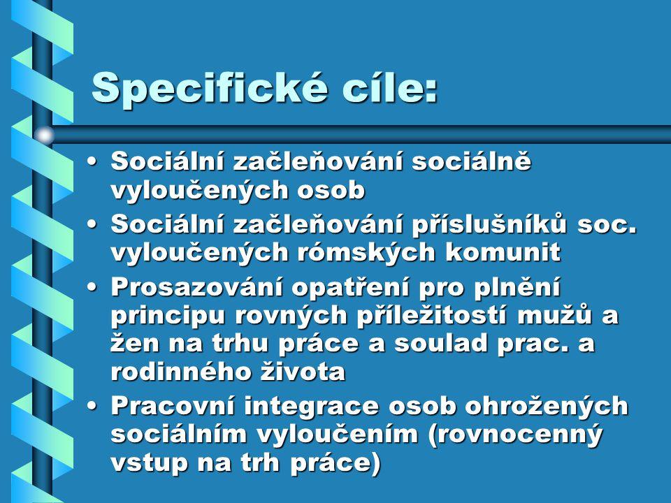 Specifické cíle: Sociální začleňování sociálně vyloučených osobSociální začleňování sociálně vyloučených osob Sociální začleňování příslušníků soc.