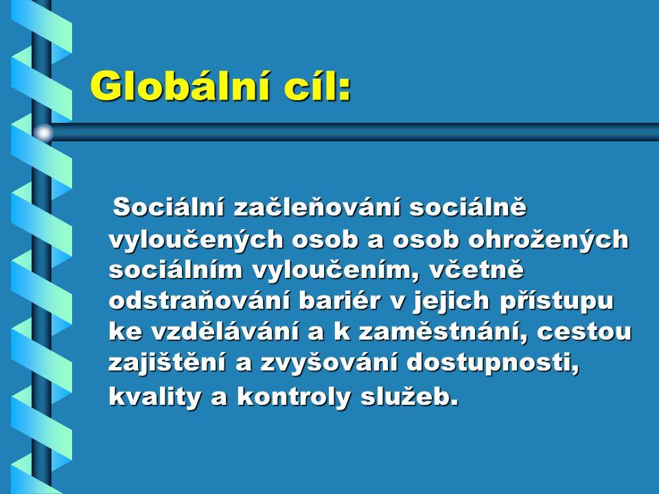 Globální cíl: Sociální začleňování sociálně vyloučených osob a osob ohrožených sociálním vyloučením, včetně odstraňování bariér v jejich přístupu ke vzdělávání a k zaměstnání, cestou zajištění a zvyšování dostupnosti, kvality a kontroly služeb.
