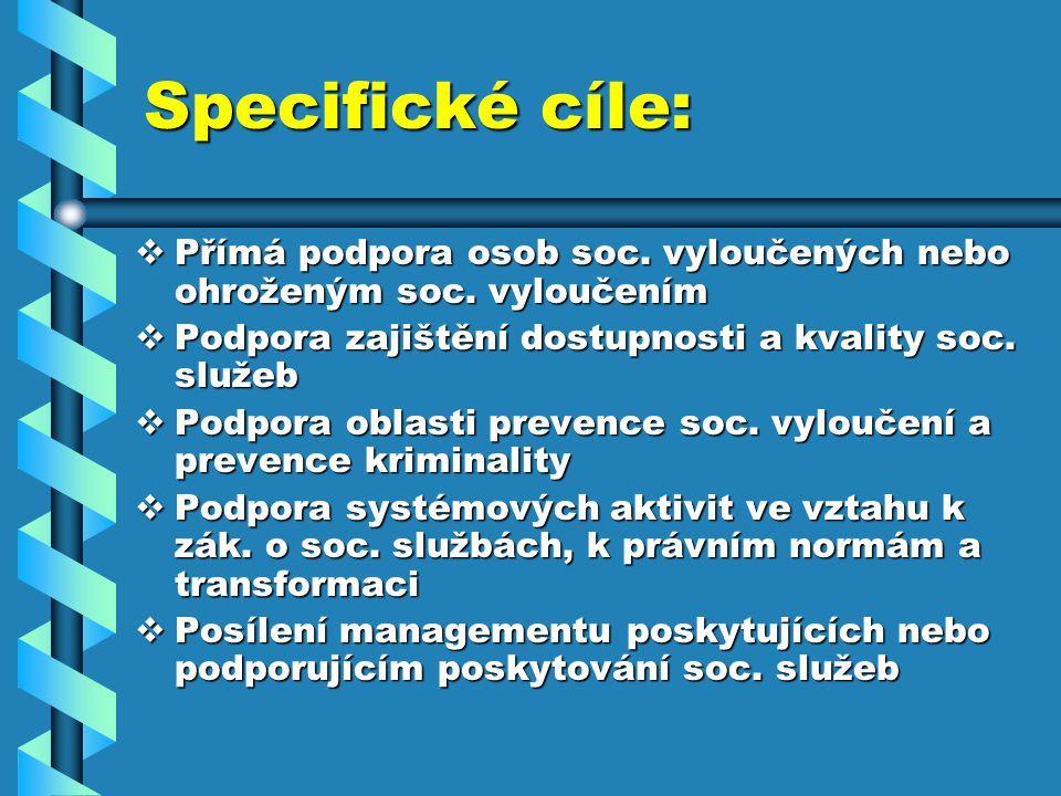 Specifické cíle:  Přímá podpora osob soc. vyloučených nebo ohroženým soc.