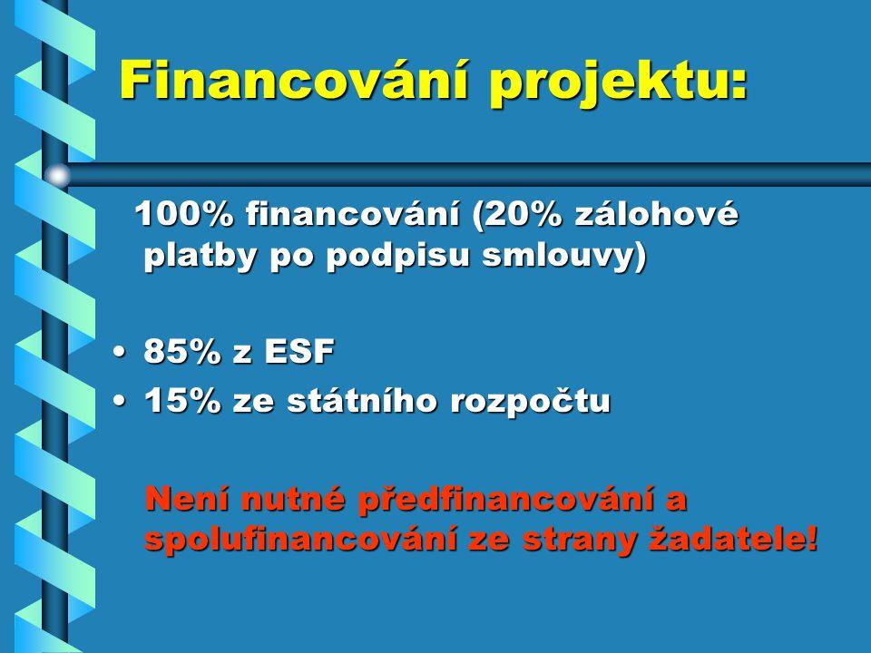 Financování projektu: 100% financování (20% zálohové platby po podpisu smlouvy) 100% financování (20% zálohové platby po podpisu smlouvy) 85% z ESF85% z ESF 15% ze státního rozpočtu15% ze státního rozpočtu Není nutné předfinancování a spolufinancování ze strany žadatele.