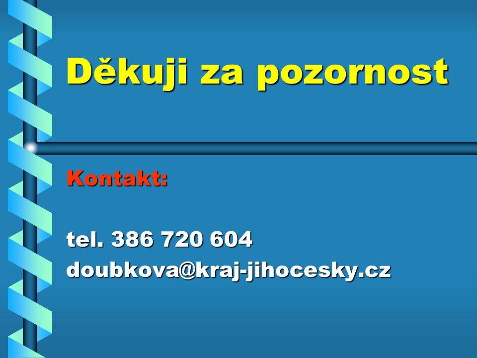 Děkuji za pozornost Kontakt: tel. 386 720 604 doubkova@kraj-jihocesky.cz
