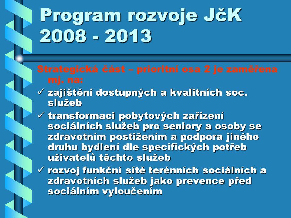Program rozvoje JčK 2008 - 2013 Strategická část – prioritní osa 2 je zaměřena mj.