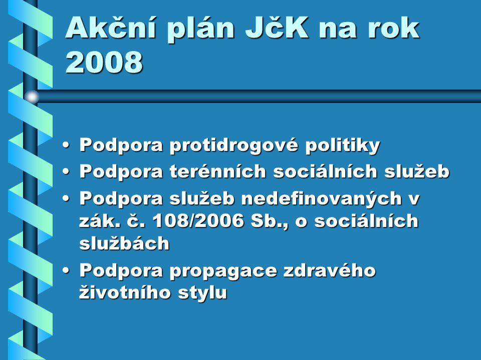 Akční plán JčK na rok 2008 Podpora protidrogové politikyPodpora protidrogové politiky Podpora terénních sociálních služebPodpora terénních sociálních služeb Podpora služeb nedefinovaných v zák.