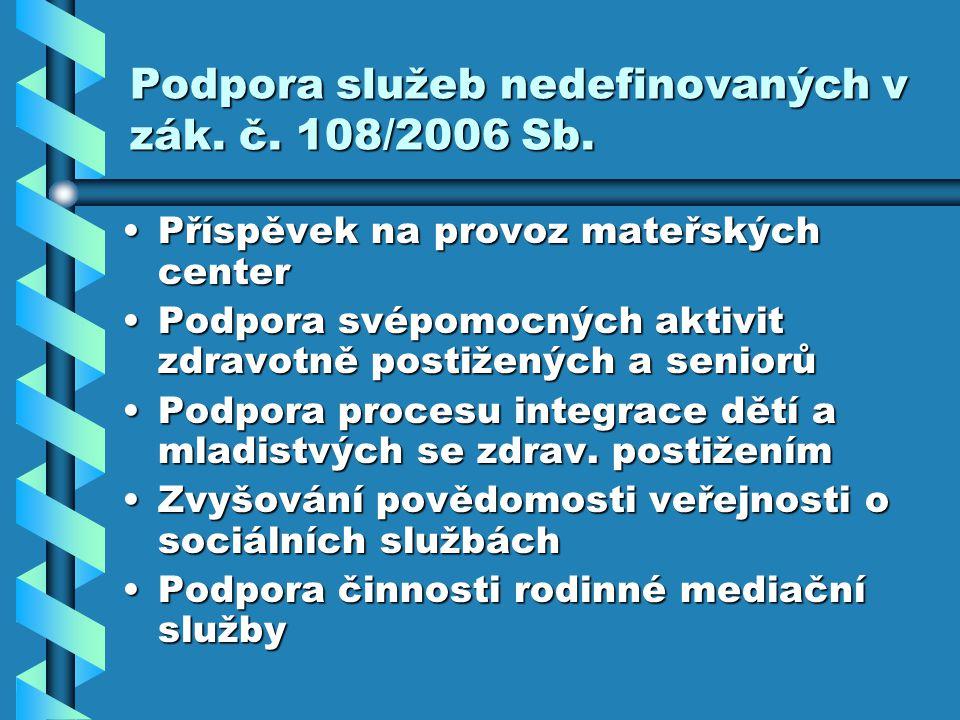 Podpora služeb nedefinovaných v zák. č. 108/2006 Sb.