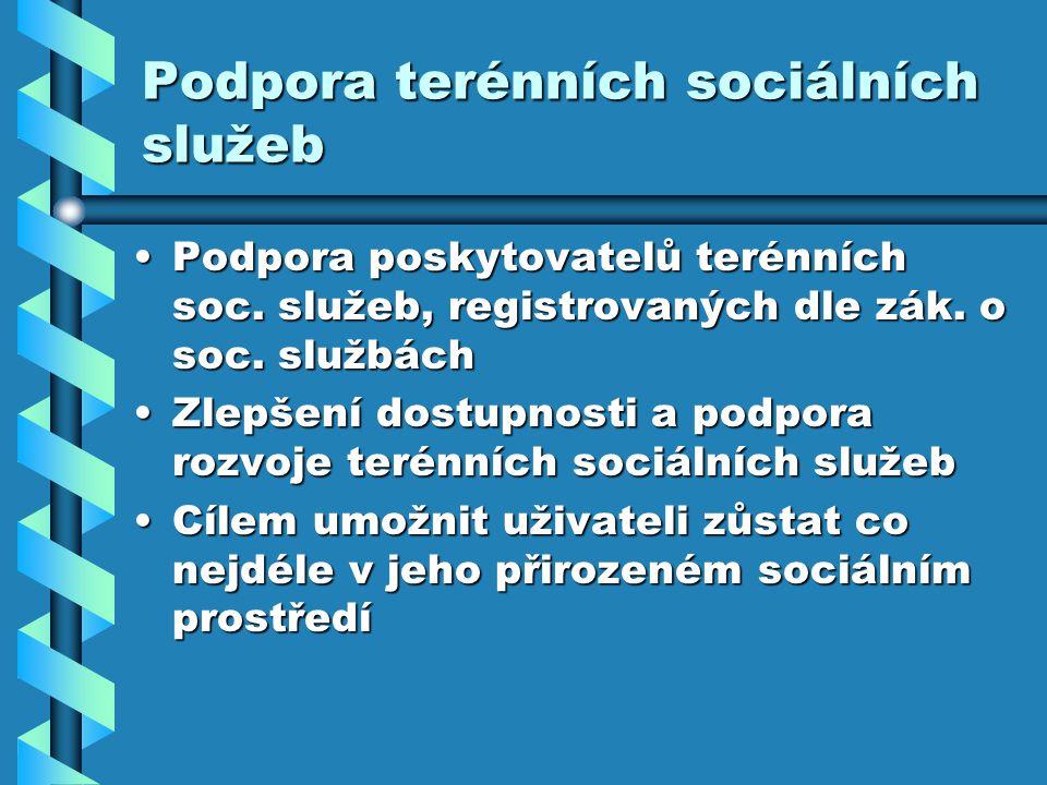 Podpora terénních sociálních služeb Podpora poskytovatelů terénních soc.