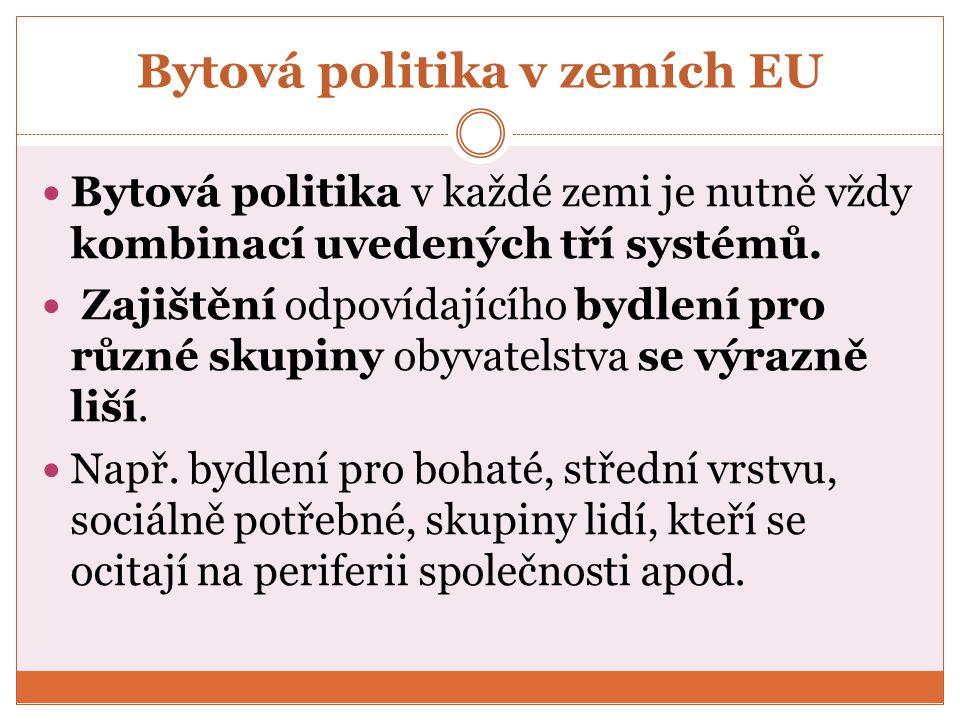 Bytová politika v zemích EU Bytová politika v každé zemi je nutně vždy kombinací uvedených tří systémů.