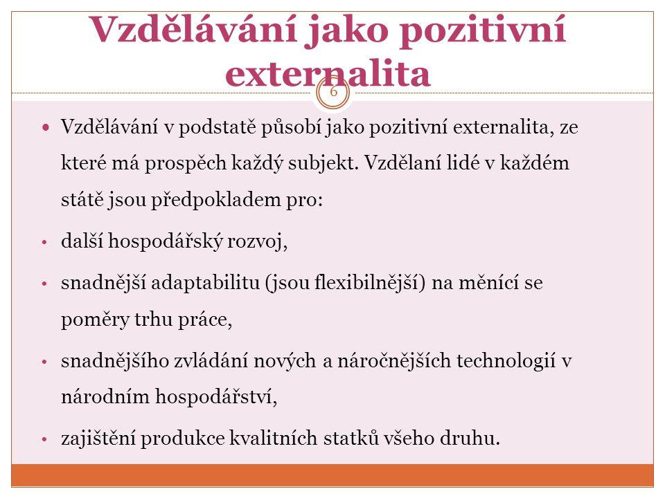 Vzdělávání jako pozitivní externalita Vzdělávání v podstatě působí jako pozitivní externalita, ze které má prospěch každý subjekt.