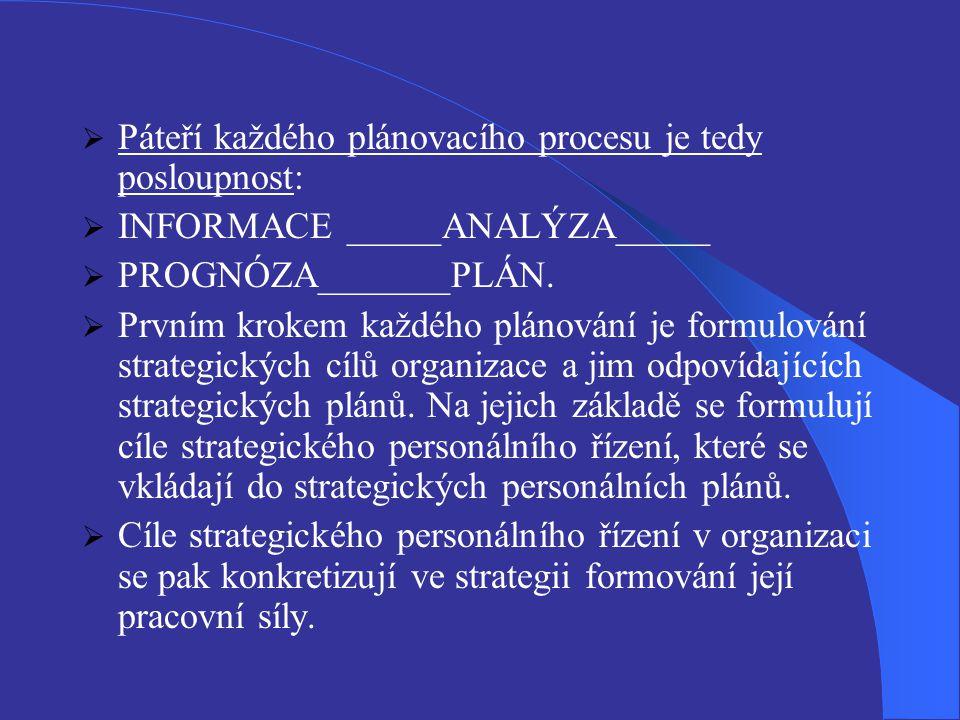 Páteří každého plánovacího procesu je tedy posloupnost:  INFORMACE _____ANALÝZA_____  PROGNÓZA_______PLÁN.  Prvním krokem každého plánování je fo