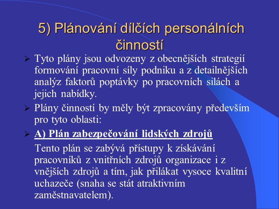 5) Plánování dílčích personálních činností 5) Plánování dílčích personálních činností  Tyto plány jsou odvozeny z obecnějších strategií formování pra