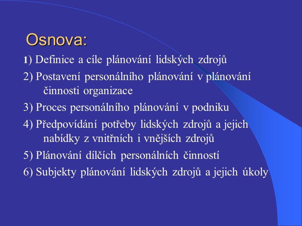 Osnova: 1 ) Definice a cíle plánování lidských zdrojů 2) Postavení personálního plánování v plánování činnosti organizace 3) Proces personálního pláno