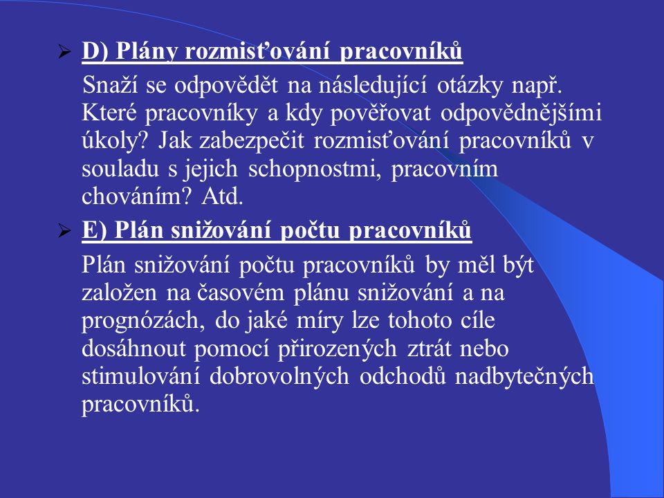  D) Plány rozmisťování pracovníků Snaží se odpovědět na následující otázky např. Které pracovníky a kdy pověřovat odpovědnějšími úkoly? Jak zabezpeči