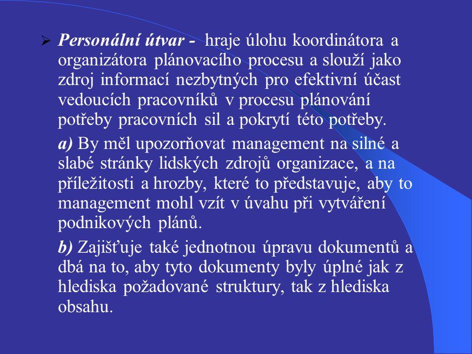  Personální útvar - hraje úlohu koordinátora a organizátora plánovacího procesu a slouží jako zdroj informací nezbytných pro efektivní účast vedoucíc