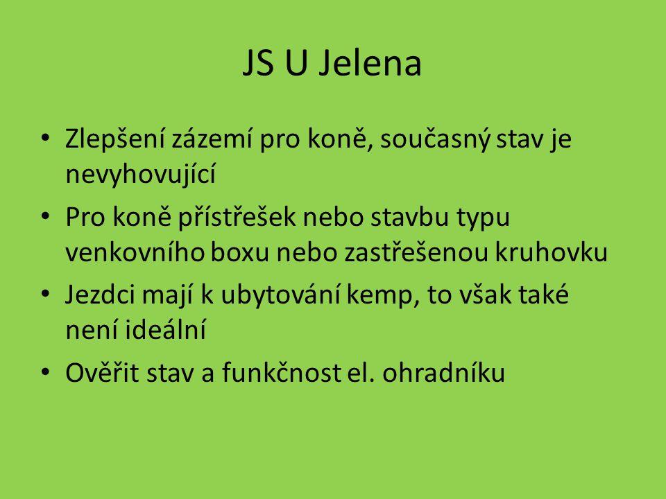 JS U Jelena Zlepšení zázemí pro koně, současný stav je nevyhovující Pro koně přístřešek nebo stavbu typu venkovního boxu nebo zastřešenou kruhovku Jezdci mají k ubytování kemp, to však také není ideální Ověřit stav a funkčnost el.