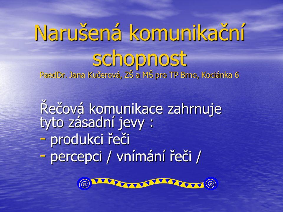 Narušená komunikační schopnost PaedDr. Jana Kučerová, ZŠ a MŠ pro TP Brno, Kociánka 6 Řečová komunikace zahrnuje tyto zásadní jevy : - produkci řeči -