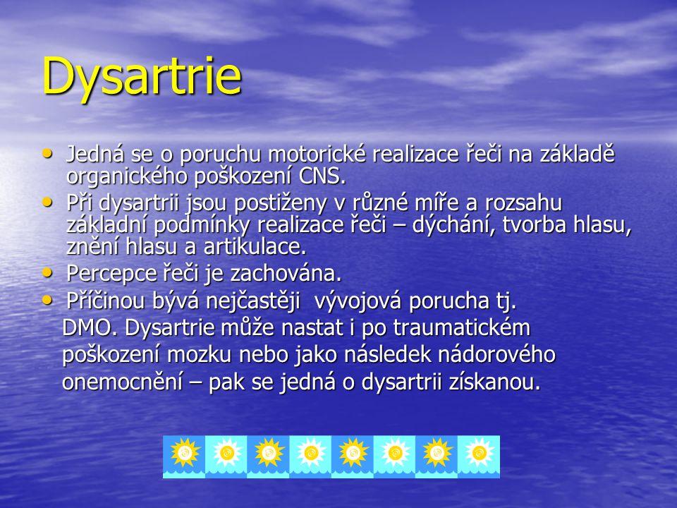 Dysartrie Jedná se o poruchu motorické realizace řeči na základě organického poškození CNS. Jedná se o poruchu motorické realizace řeči na základě org