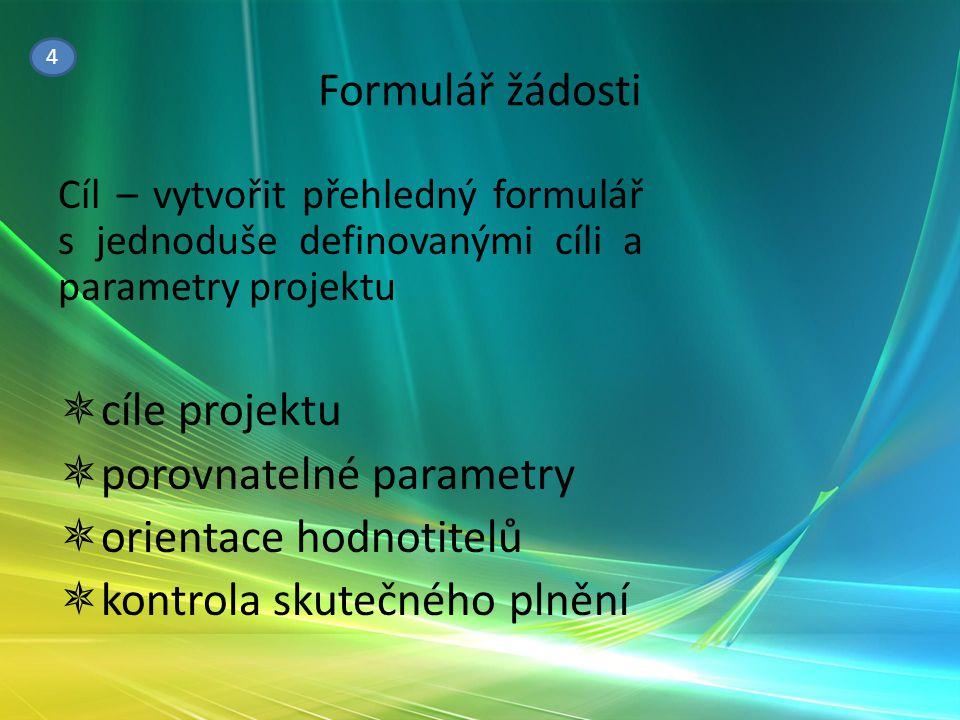 Formulář žádosti Cíl – vytvořit přehledný formulář s jednoduše definovanými cíli a parametry projektu  cíle projektu  porovnatelné parametry  orien