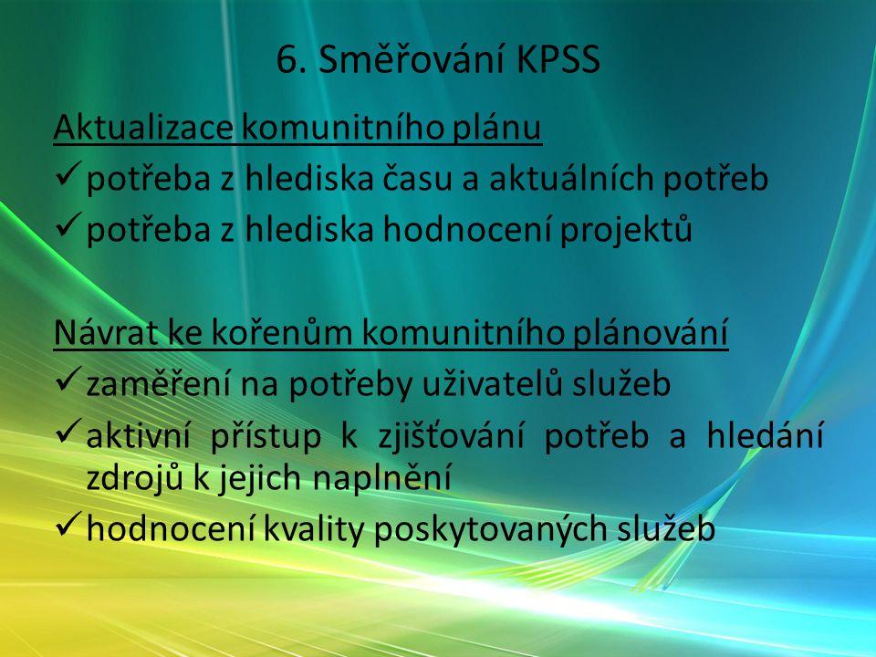 6. Směřování KPSS Aktualizace komunitního plánu potřeba z hlediska času a aktuálních potřeb potřeba z hlediska hodnocení projektů Návrat ke kořenům ko