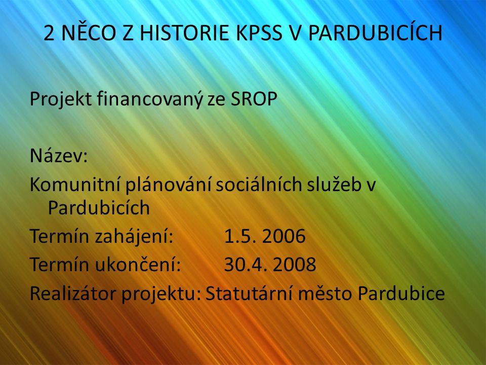 2 NĚCO Z HISTORIE KPSS V PARDUBICÍCH Projekt financovaný ze SROP Název: Komunitní plánování sociálních služeb v Pardubicích Termín zahájení: 1.5. 2006