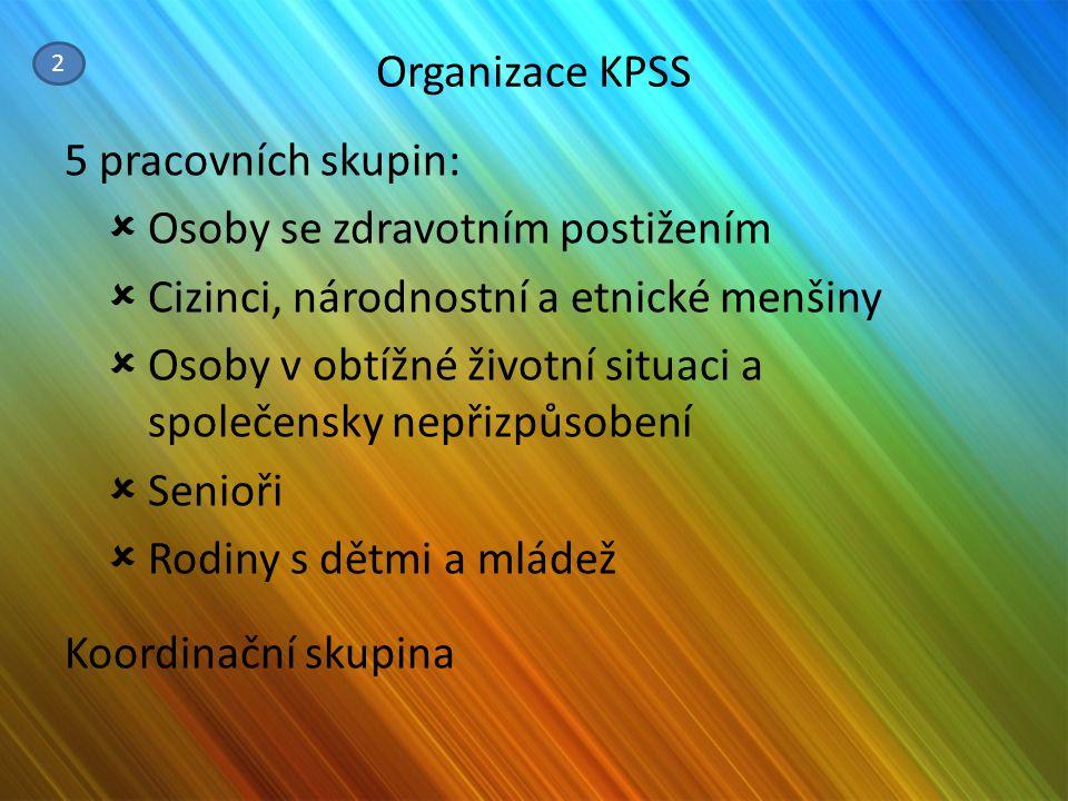 Organizace KPSS 5 pracovních skupin:  Osoby se zdravotním postižením  Cizinci, národnostní a etnické menšiny  Osoby v obtížné životní situaci a spo
