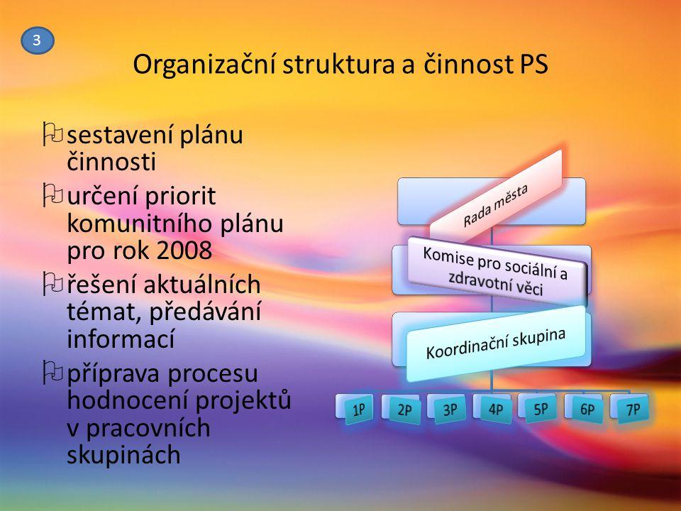 Organizační struktura a činnost PS  sestavení plánu činnosti  určení priorit komunitního plánu pro rok 2008  řešení aktuálních témat, předávání inf