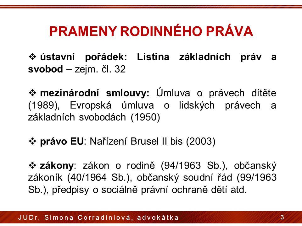 PRAMENY RODINNÉHO PRÁVA  ústavní pořádek: Listina základních práv a svobod – zejm. čl. 32  mezinárodní smlouvy: Úmluva o právech dítěte (1989), Evro