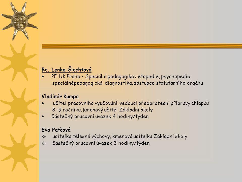 Bc. Lenka Šlechtová  PF UK Praha - Speciální pedagogika : etopedie, psychopedie, speciálněpedagogická diagnostika, zástupce statutárního orgánu Vladi