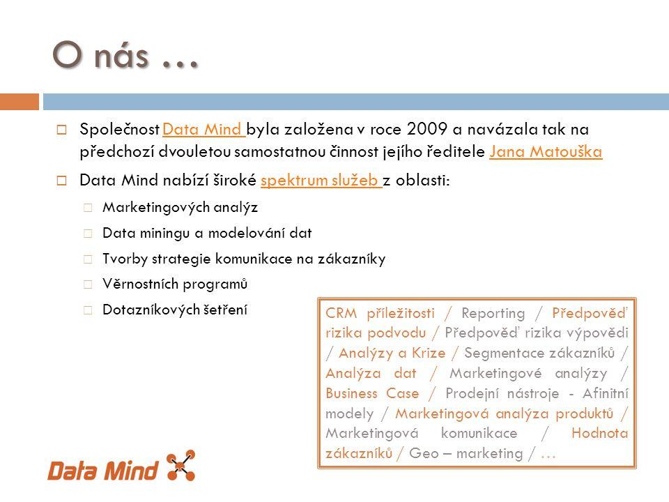  Společnost Data Mind byla založena v roce 2009 a navázala tak na předchozí dvouletou samostatnou činnost jejího ředitele Jana MatouškaData Mind Jana