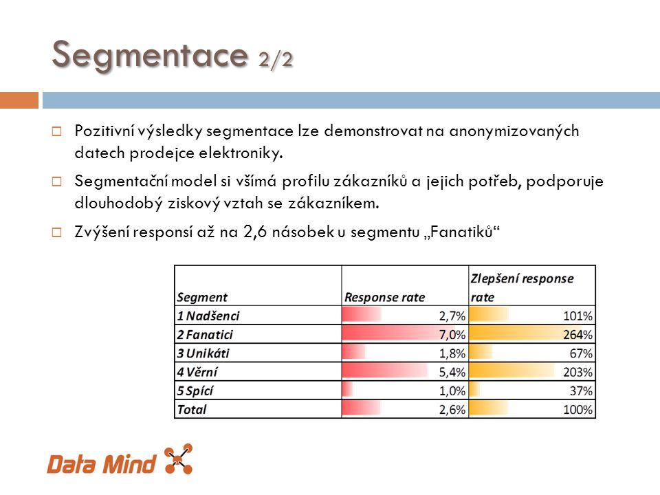 Segmentace 2/2  Pozitivní výsledky segmentace lze demonstrovat na anonymizovaných datech prodejce elektroniky.  Segmentační model si všímá profilu z