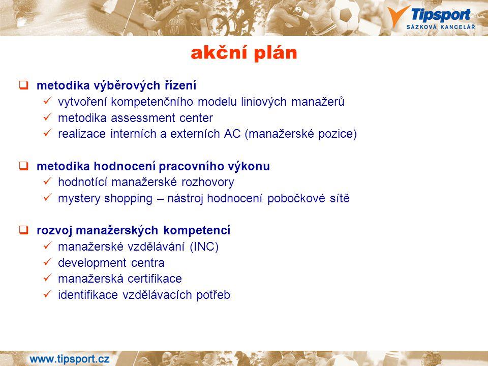 akční plán  metodika výběrových řízení vytvoření kompetenčního modelu liniových manažerů metodika assessment center realizace interních a externích A