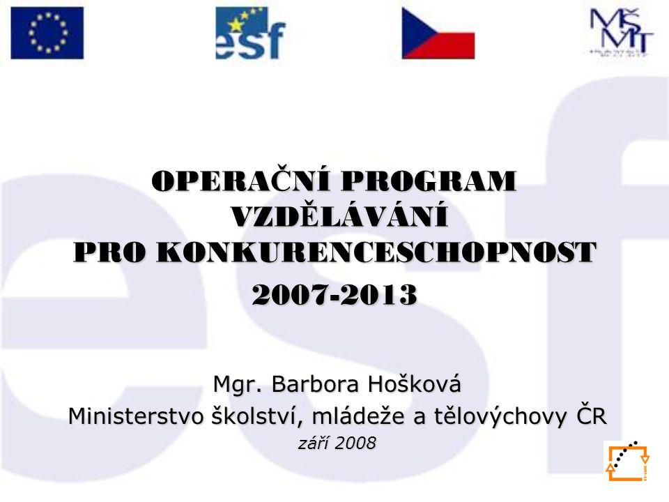 OPERA Č NÍ PROGRAM VZD Ě LÁVÁNÍ PRO KONKURENCESCHOPNOST 2007-2013 Mgr.