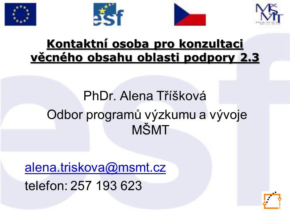 Kontaktní osoba pro konzultaci věcného obsahu oblasti podpory 2.3 PhDr.