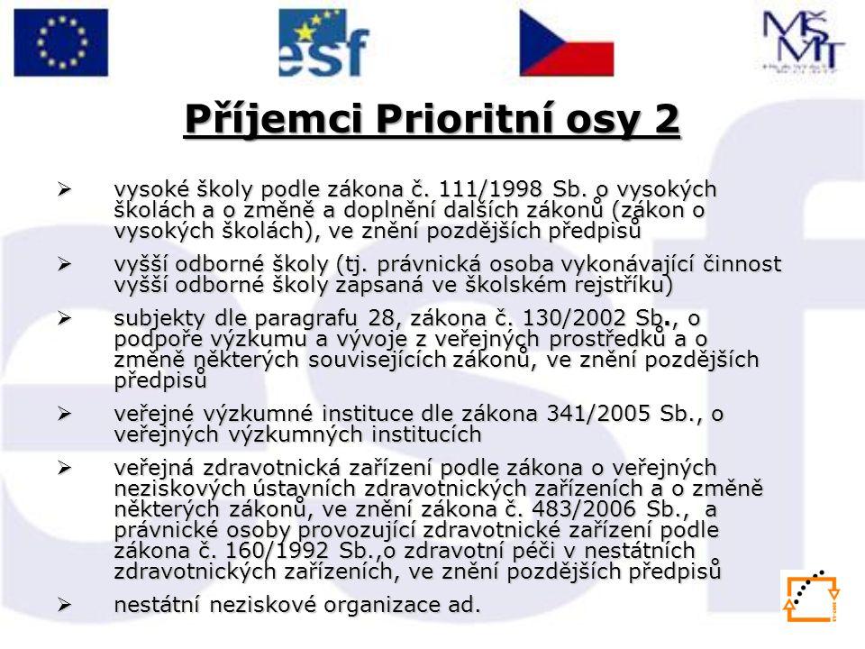 Příjemci Prioritní osy 2  vysoké školy podle zákona č.