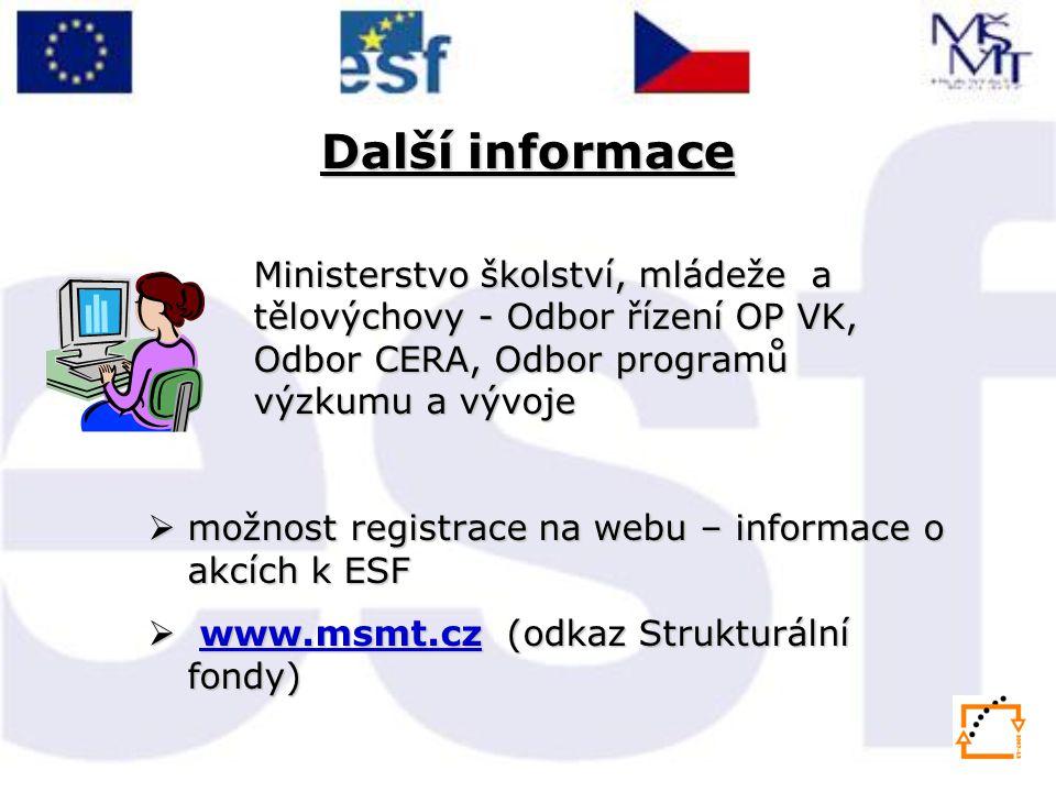 Další informace Ministerstvo školství, mládeže a tělovýchovy - Odbor řízení OP VK, Odbor CERA, Odbor programů výzkumu a vývoje  možnost registrace na webu – informace o akcích k ESF  www.msmt.cz (odkaz Strukturální fondy) www.msmt.cz