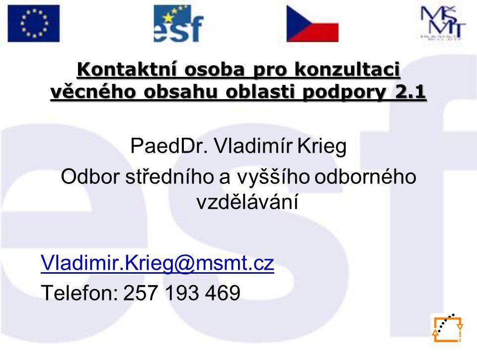Kontaktní osoba pro konzultaci věcného obsahu oblasti podpory 2.1 PaedDr.
