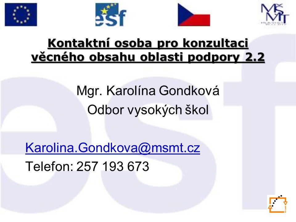 Kontaktní osoba pro konzultaci věcného obsahu oblasti podpory 2.2 Mgr.
