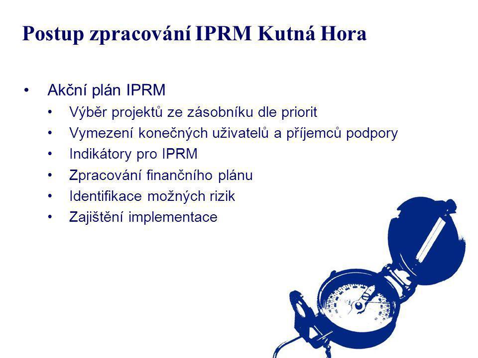 Postup zpracování IPRM Kutná Hora Akční plán IPRM Výběr projektů ze zásobníku dle priorit Vymezení konečných uživatelů a příjemců podpory Indikátory p