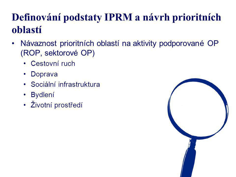 Definování podstaty IPRM a návrh prioritních oblastí Návaznost prioritních oblastí na aktivity podporované OP (ROP, sektorové OP) Cestovní ruch Doprav