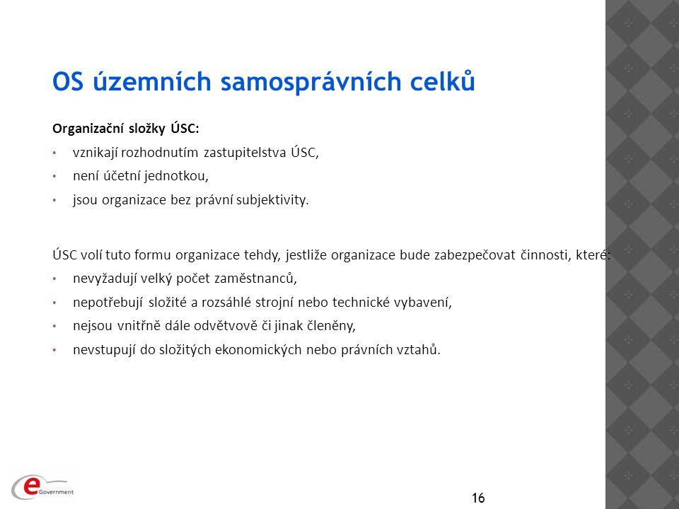 OS územních samosprávních celků Organizační složky ÚSC: vznikají rozhodnutím zastupitelstva ÚSC, není účetní jednotkou, jsou organizace bez právní sub