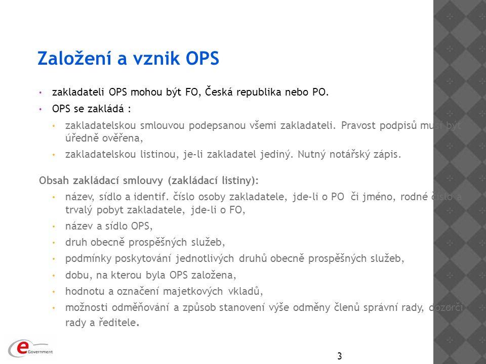 Založení a vznik OPS zakladateli OPS mohou být FO, Česká republika nebo PO. OPS se zakládá : zakladatelskou smlouvou podepsanou všemi zakladateli. Pra